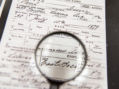 Magnifying Glass and Census Document