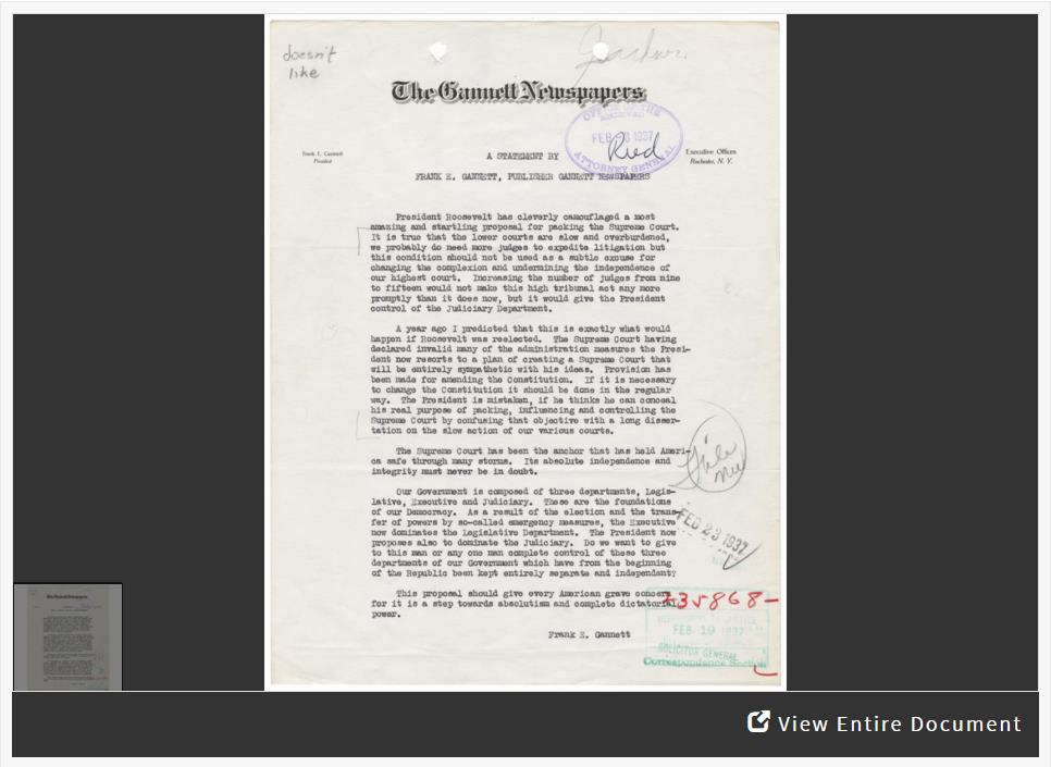 Reorganizing: The Supreme Court in the New Deal