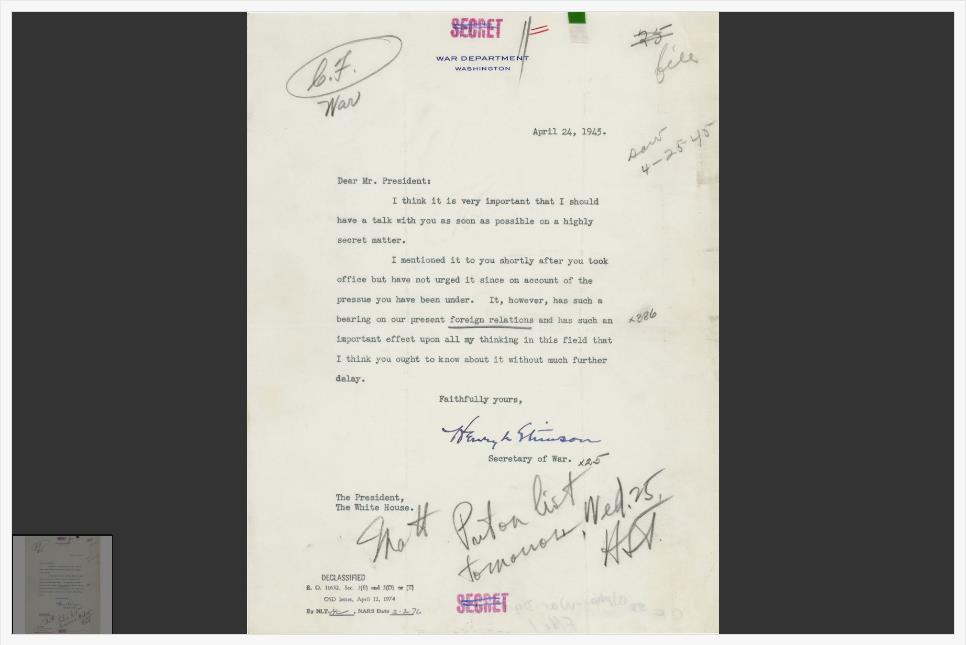 Letter to Truman about the Manhattan Project