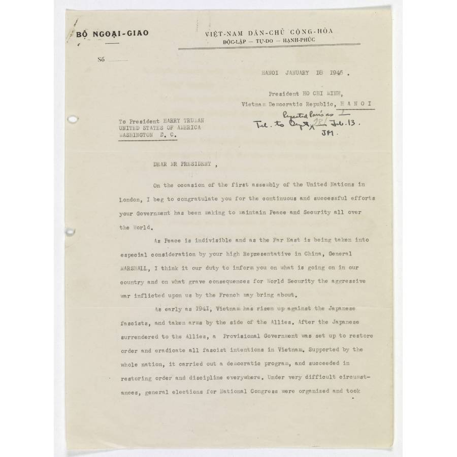 Letter from Ho Chi Minh to President Harry Truman | DocsTeach