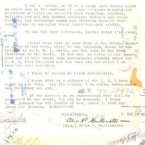 Letter to J. Edgar Hoover with Response