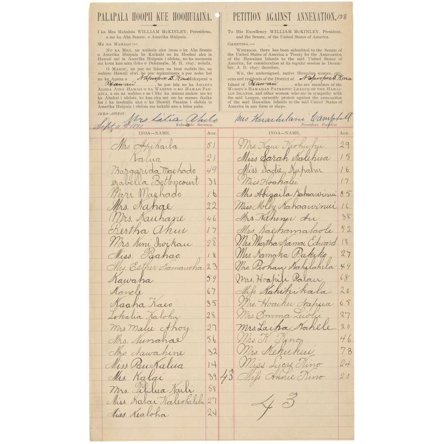 1897 petition against the annexation of hawaii