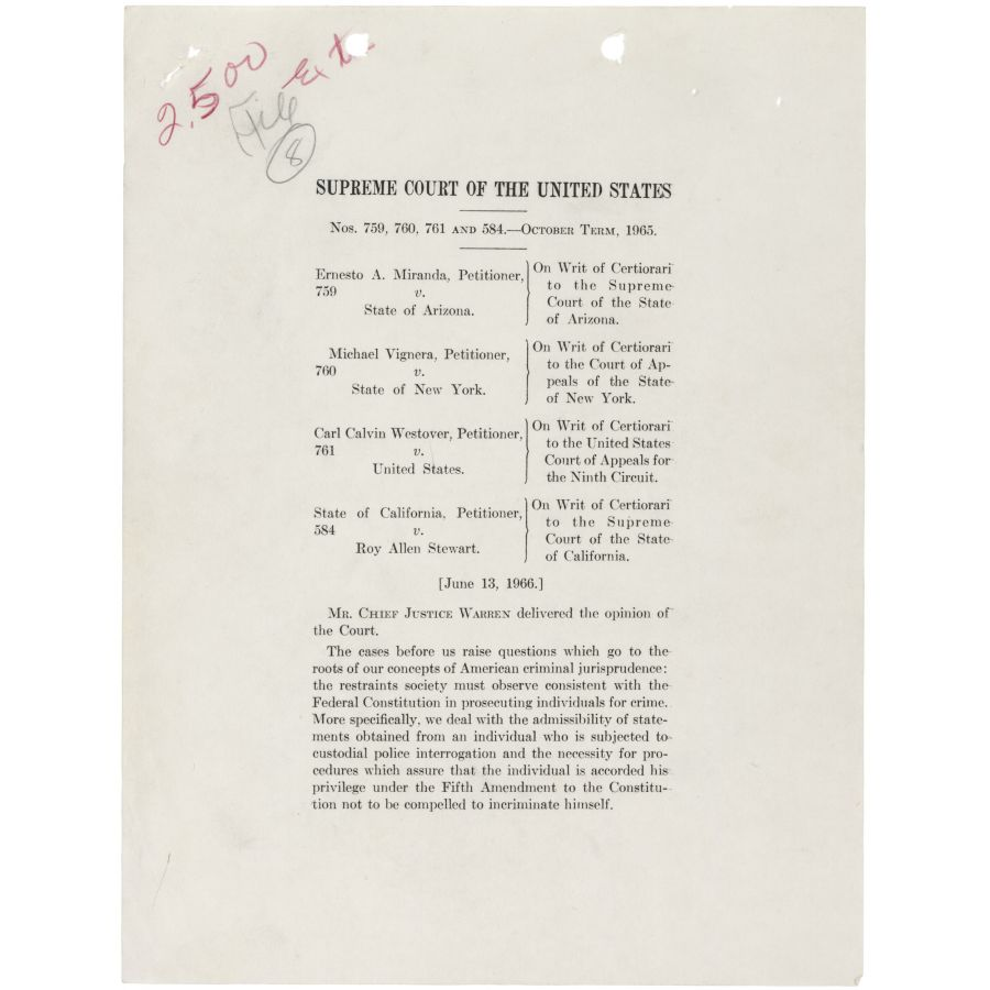 Opinion of the Court by Chief Justice Earl Warren in the