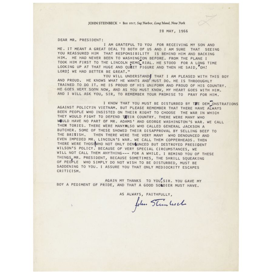 Letter from John Steinbeck to President Lyndon Johnson | DocsTeach