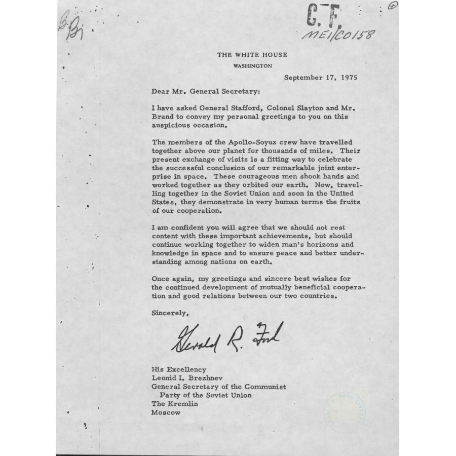 Letter from president gerald ford to soviet general secretary leonid this letter includes information regarding the apollo soyuz test project a joint us soviet union space mission the original was delivered to leonid kristyandbryce Image collections