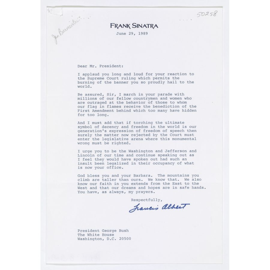 Letter from Frank Sinatra to George H  W  Bush | DocsTeach