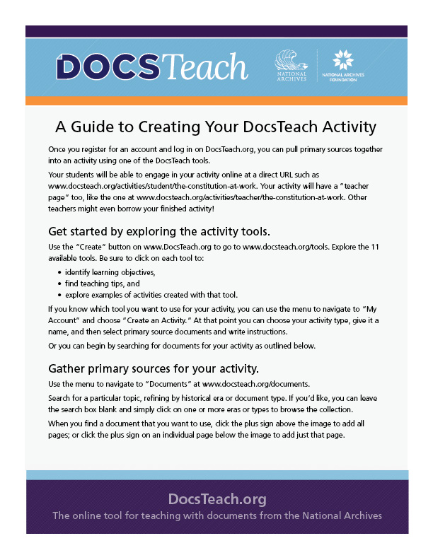 Guide to Creating Your DocsTeach Activity