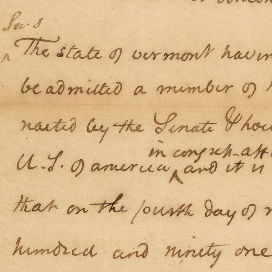 Bill for the Admission of Vermont into the Union
