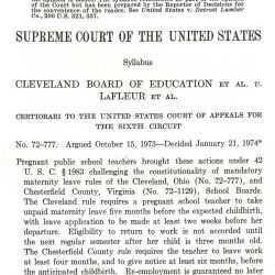 Supreme Court of the United States Syllabus for Jo Carol LaFleur v. Cleveland Board of Education, et al.