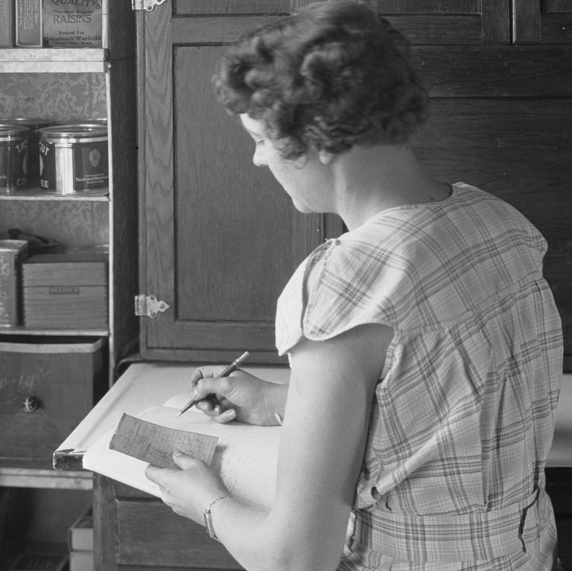 Farm Woman Checking Pantry Supplies