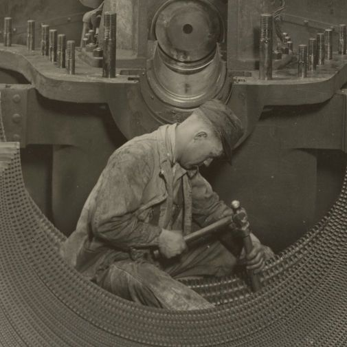 Photograph of a Worker in the Turbine Power House of the Pennsylvania Railroad