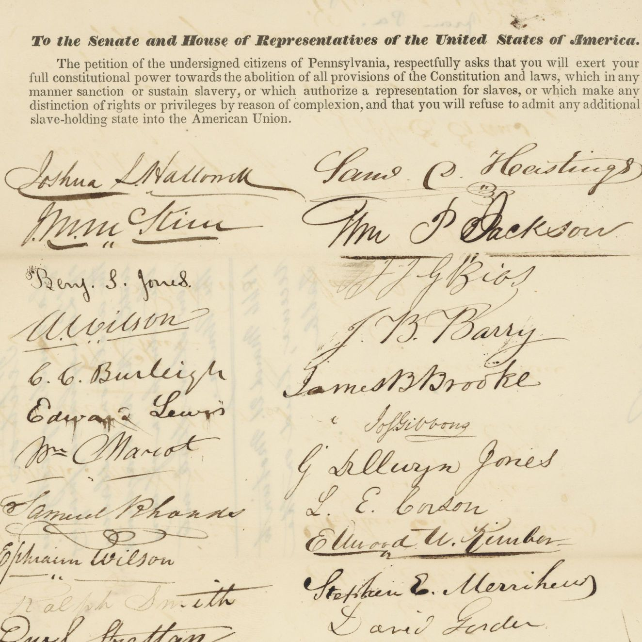 Petition from Pennsylvanians to Reject Slavery