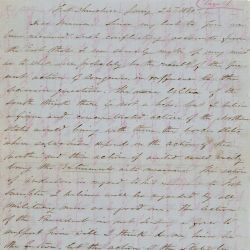 Letter from Capt. Treadwell S. Moore to Rose Greenhow Concerning Course of Congress in the Question of Secession