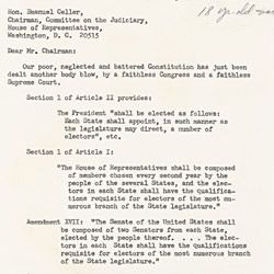 Letter to the Committee on the Judiciary Regarding Suffrage for 18-Year Olds