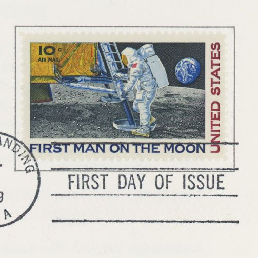 Postcard with Apollo 11 Commemorative First Day Issue Stamp and Signatures
