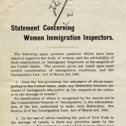 Statement Concerning Women Immigration Inspectors
