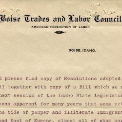 Resolution by the Boise Trades and Labor Council on Immigration