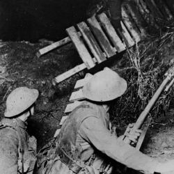 Working Party Carrying Duck-Boards over a Support line Trench at Night. Cambrai Offensive