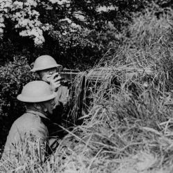 American machine gun position well camouflaged. Moulle, France.