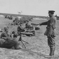 American machine guns troops receiving instruction from a British instructor. Near Moulle, France.