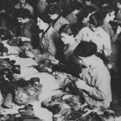 Women employed in a British gas mask factory