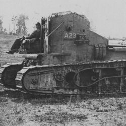 Whippet tank advancing at Biefvillers, France