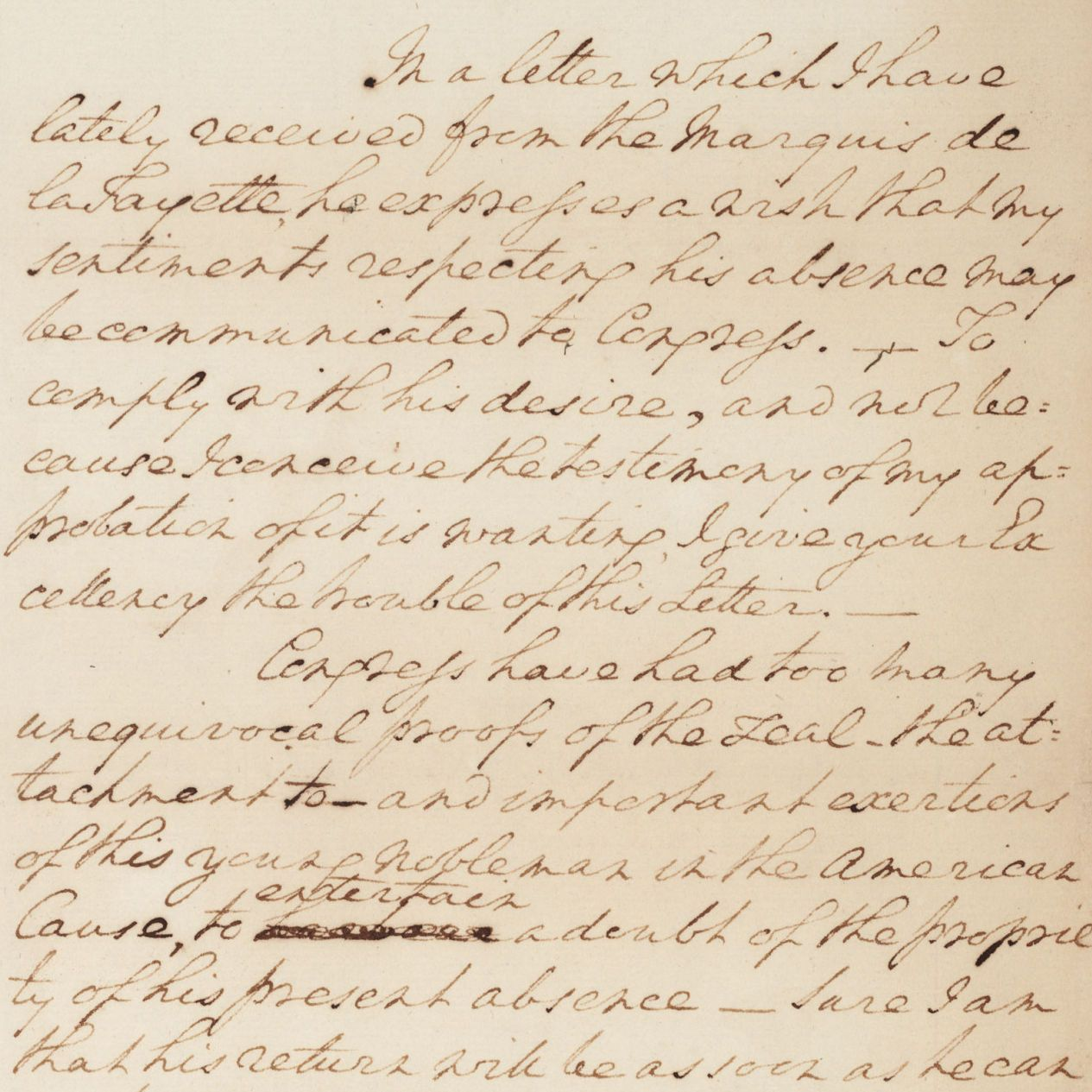 Letter from George Washington to the President of Congress