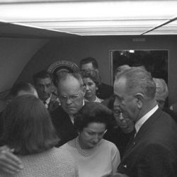 Photograph of the Swearing in of Lyndon B. Johnson as President: Air Force One, Love Field, Dallas, Texas