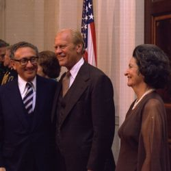 Henry Kissinger, Gerald Ford and Ladybird Johnson at the Panama Canal Treaty Dinner
