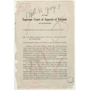 Petition of Carrie Buck in the Supreme Court of Appeals of Virginia