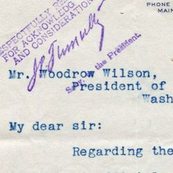 Letter from D. R. Cox to President Wilson