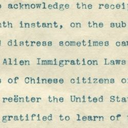Letter from the Washington Immigration Department Regarding the Enforcement of Chinese Exclusion Laws