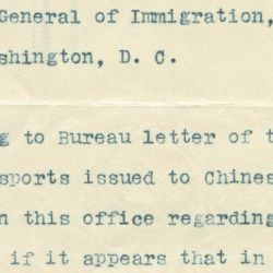 Letter from the Commissioner of Immigration in San Francisco Regarding the Issuing of Passports to Persons of the Chinese Race