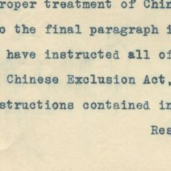 Letter to the Commissioner General of the Bureau of Immigration and Naturalization Regarding the Officers of the Philadelphia, Pennsylvania District Charged with the Enforcement of Chinese Exclusion L