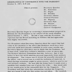 Memorandum of Conference with President Eisenhower on October 8, 1957