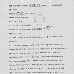 Cable from Graham Martin, Ambassador to South Vietnam, to Secretary of State Henry Kissinger Concerning the Evacuation of Vietnam