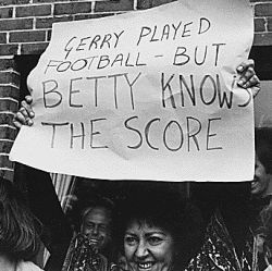 Photograph of a Woman Holding a Sign in Portland Maine, Supporting First Lady Betty Ford For Her Stance on Various Women