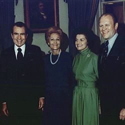 Photograph of President Richard M. Nixon and First Lady Pat Nixon with Representative Gerald R. Ford and Betty Ford in the Blue Room of the White House, Following the Nomination of Gerald Ford as Vice