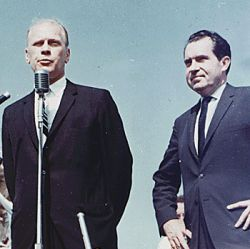 Photograph of Representative Gerald R. Ford Campaigning with Former Vice President Richard Nixon for Barry Goldwater at the Kent County Airport, Grand Rapids, Michigan