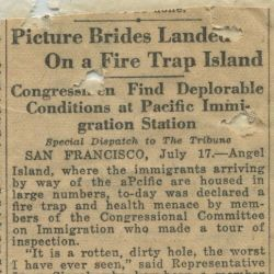 Picture Brides Landed On a Fire Trap Island: Congressmen Find Deplorable Conditions at Pacific Immigration Station