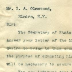 Letter from the Acting Secretary of the Treasury to I. A. Olmstead of Elmira, New York, in Response to a Request for Information on How to Bring a Chinese Student into the United States