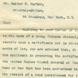 Letter from the Treasury Department to Attorney Walter S. Carter Informing Him that the New York Collector of Customs had been Authorized to Admit a Chinese Student Seeking Admission to the United Sta