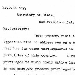 Letter from Banker John Alton to Secretary of State John Hay Regarding the Chinese Exclusion Act