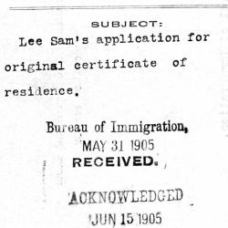 Application for Original Certificate for Lee Sam