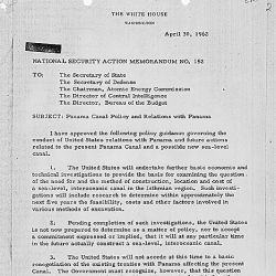 National Security Action Memorandum No. 152 Panama Canal Policy and Relations w/ Panama
