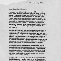 Letter from President Kennedy to Chanellor Adenauer