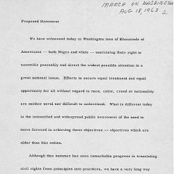 Proposed Statement, March on Washington August 18, 1963
