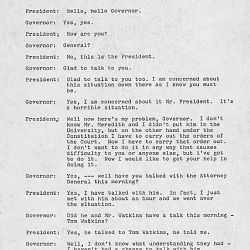 First Telephone Conversation Between President Kennedy and Governor Barnett