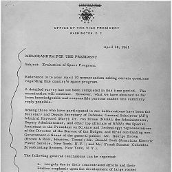Memoranduam for President Subject: Evaluation of Space Program April 28, 1961