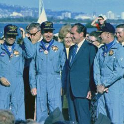Richard M. Nixon meeting with Apollo 13 astronauts in Hawaii